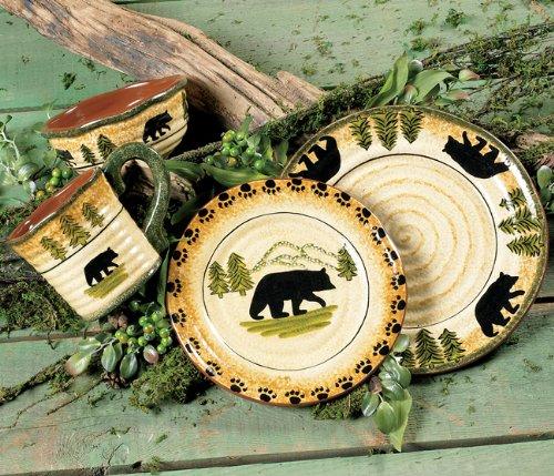Black Bear Forest Dinnerware Set - 16 pcs - Cabin Dining Decor - Black Bear Dinner