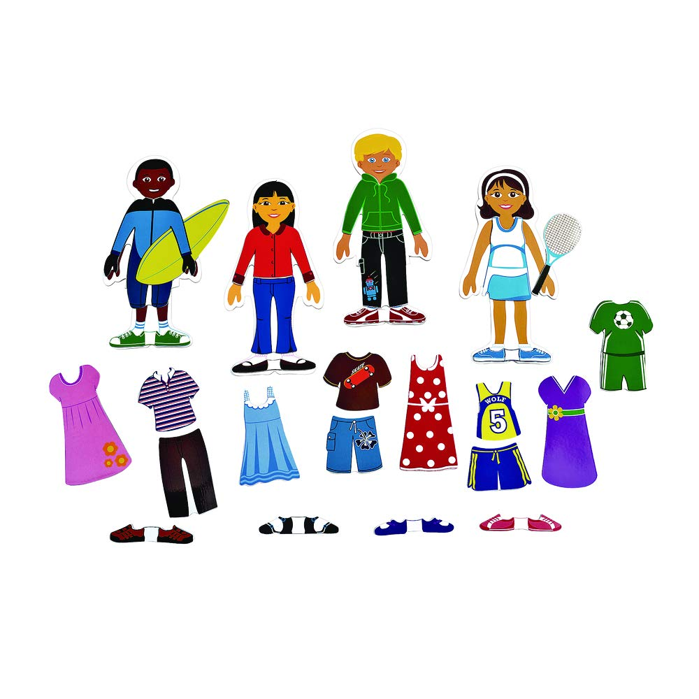 Excellerations Magnetic Dressing 8.5'' inch Dolls, 80 Pieces, Social Emotional Learning, Preschool, Educational Toy, Kids Toys (Item # MAGDRESS) by Excellerations