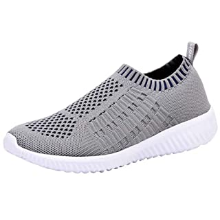 LANCROP Women's Comfortable Walking Shoes - Lightweight Mesh Slip on Athletic Sneakers 5 US, Label 35 Grey