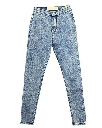 SaiDeng Mujeres Color Puro Talle Alto Pantalones de Mezclilla Delgado Lápiz Azul Claro 31