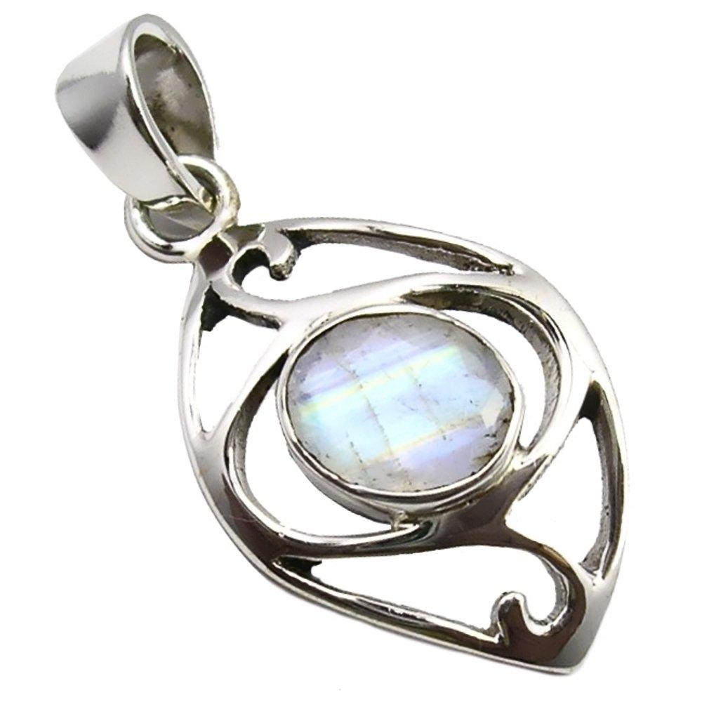 Unique Rainbow Moonstone Pendant 925 Sterling Silver 5.2 Carat Jeweller's Quality Marquise Navette Cut