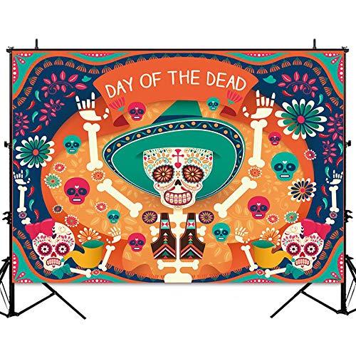 Allenjoy 7x5ft Day of The Dead Backdrop Photography Skull Calaca Mexican Día de Los Muertos Background Holiday Party Decorations Banner Photo Studio Props