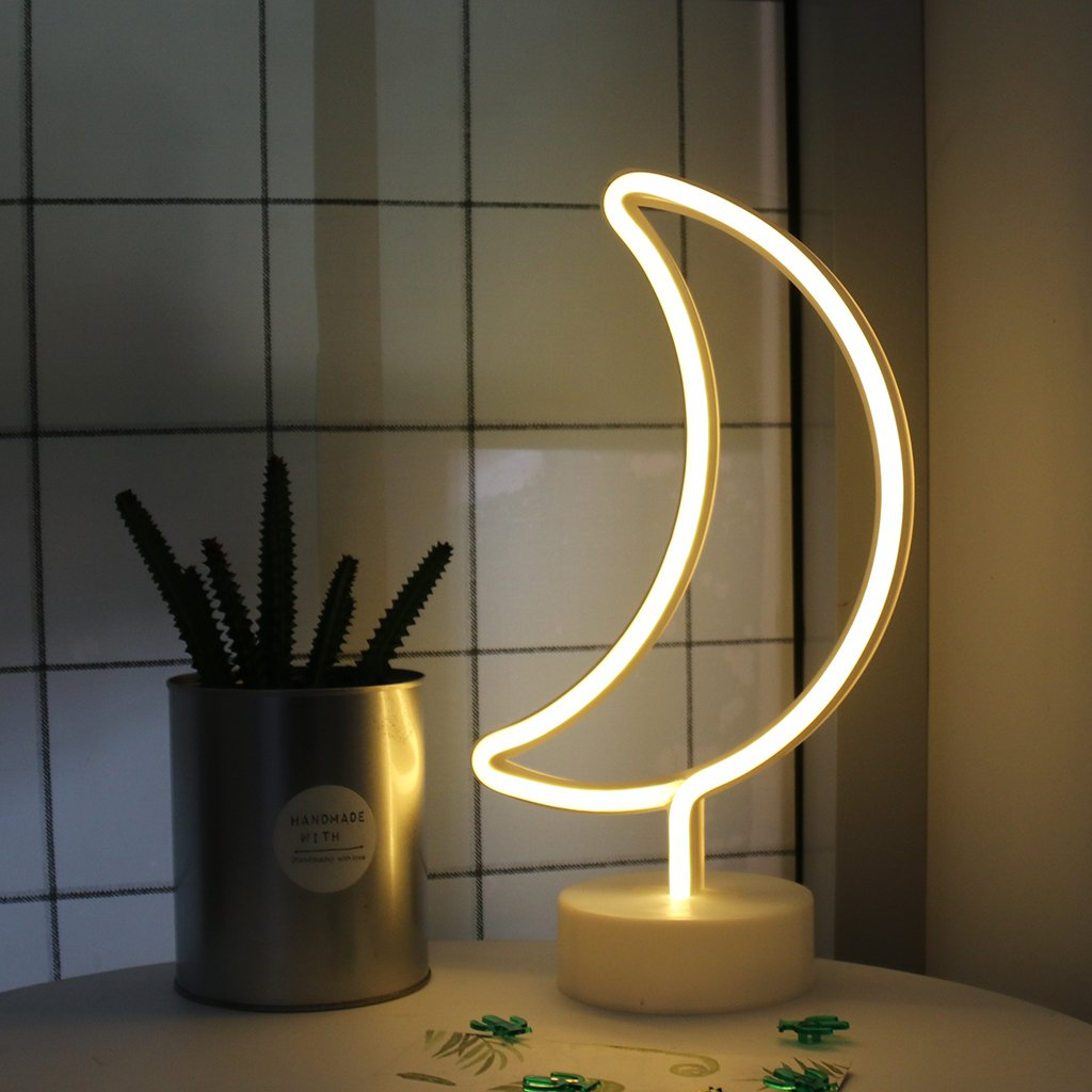 Moon Shape led neon Night Light with Base Marquee Sign lamp Decorative neon Light for Home Decoration Best Gift Choice