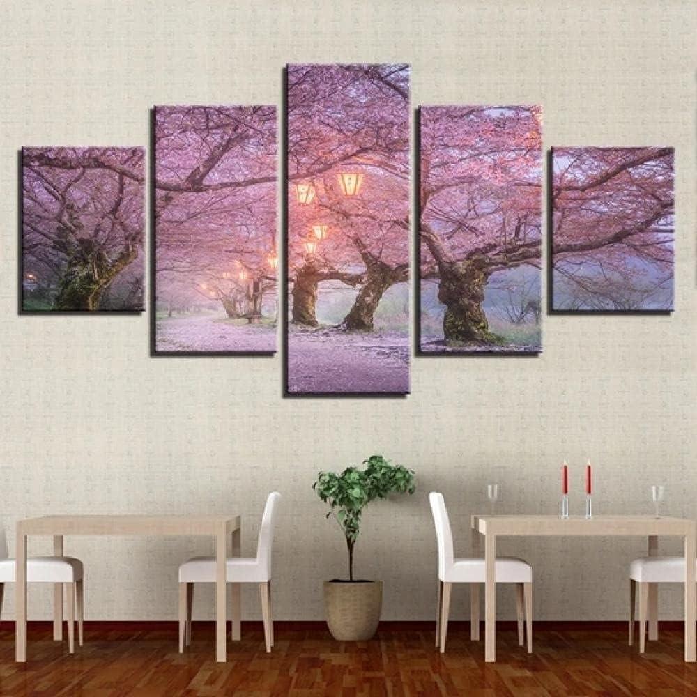 KOPASD So Crazy Art - Flor de Cerezo Cuadros Decoracion de Pared 5 Piezas Modernos Mural Fotos para