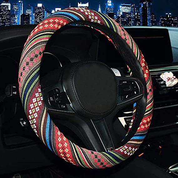 1# SHIAWASENA Car Steering Wheel Cover Universal 15 Inch Fit Coarse Flax Cloth Anti-Slip Sweat-Absorbent Ethnic Style