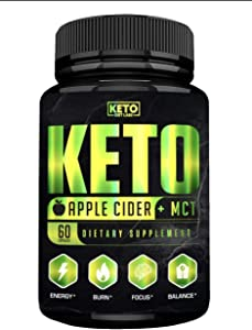 Keto Apple Cider Vinegar Pills with MCT Oil - Organic Ketosis Supplement for Women and Men - Fat Burner, Support Metabolism and Boost Energy - 60 Capsules