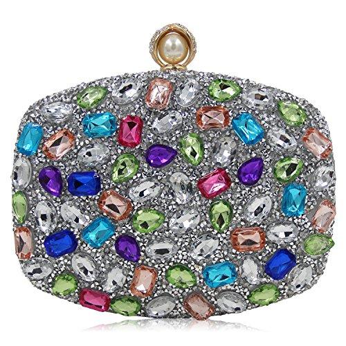 Tarde acrlico Boda H de de la Bolsos de Bolsos la KYS Mujeres Moda la Cristal de Embrague de de E Colorido Bolsos de Lujo Las w6nOqIBgP