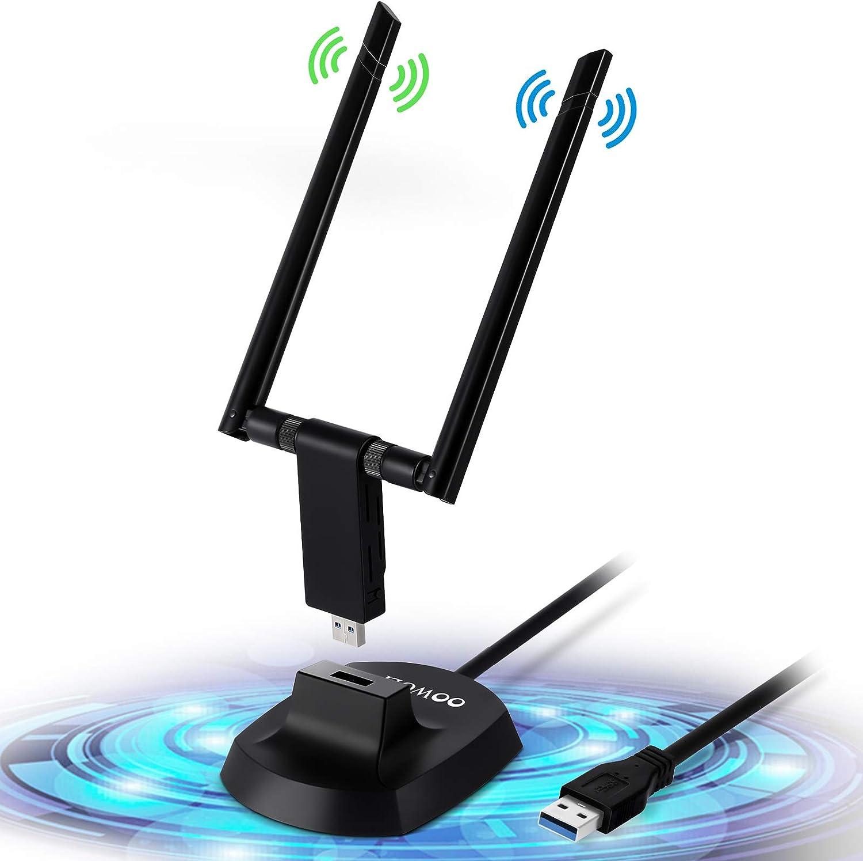 OOWOLF WiFi Adaptador USB, 1200Mbps USB 3.0 2.4G/ 5.8G Dual Band Desmontable 5dBi Antena, Soporte PC/Escritorio/Laptop de Windows XP/Vista / 7/8/10, ...