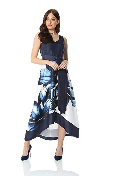 e454f720993a Roman Originals Women Dip Hem Floral Maxi Dress - Ladies V-Neck Special  Occasion Wedding Guest Fit and Flare A-Line Belted Satin Asymmetric Dresses:  ...