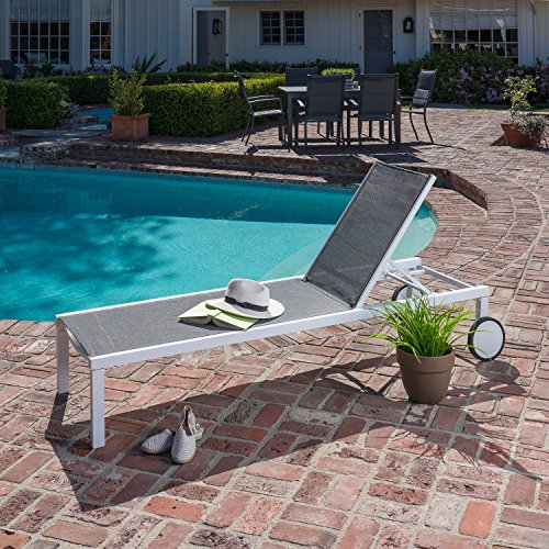 (Hanover WINDCHS-W-Gry Windham Adjustable Sling Chaise, Gray Outdoor Furniture)