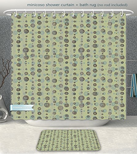 Minicoso Bathroom 2-Piece Suit Abstract Hand Drawn Sketchy Round Shaped Polka Dots Art Print Sage Green Olive Green and Light Green Shower Curtain And Bath Rug Set, 66