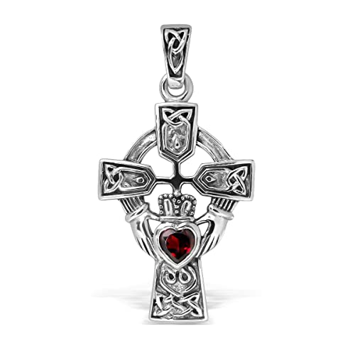 WithLoveSilver Sterling Silver 925 Celtic Cross and Claddagh Heart Pendant