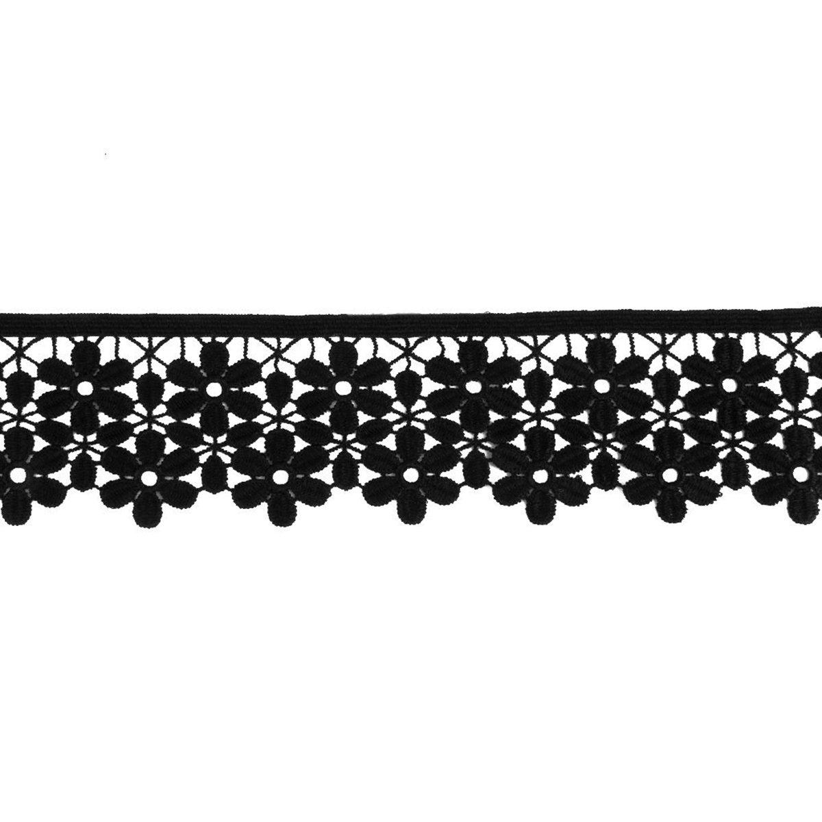 bianco Rosenice fiore ricamato da 8 cm 2,7 m con pizzo bordo per cucito artigianale