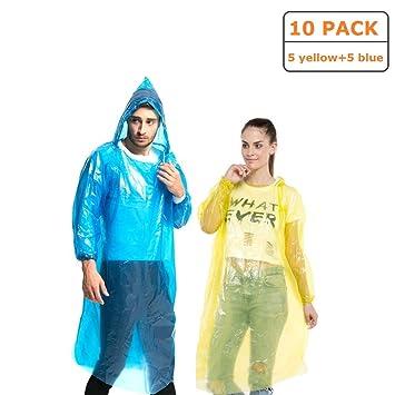 2 x Notfall Poncho mit Kapuze Gelb Regenponcho Regenmantel Regenjacke