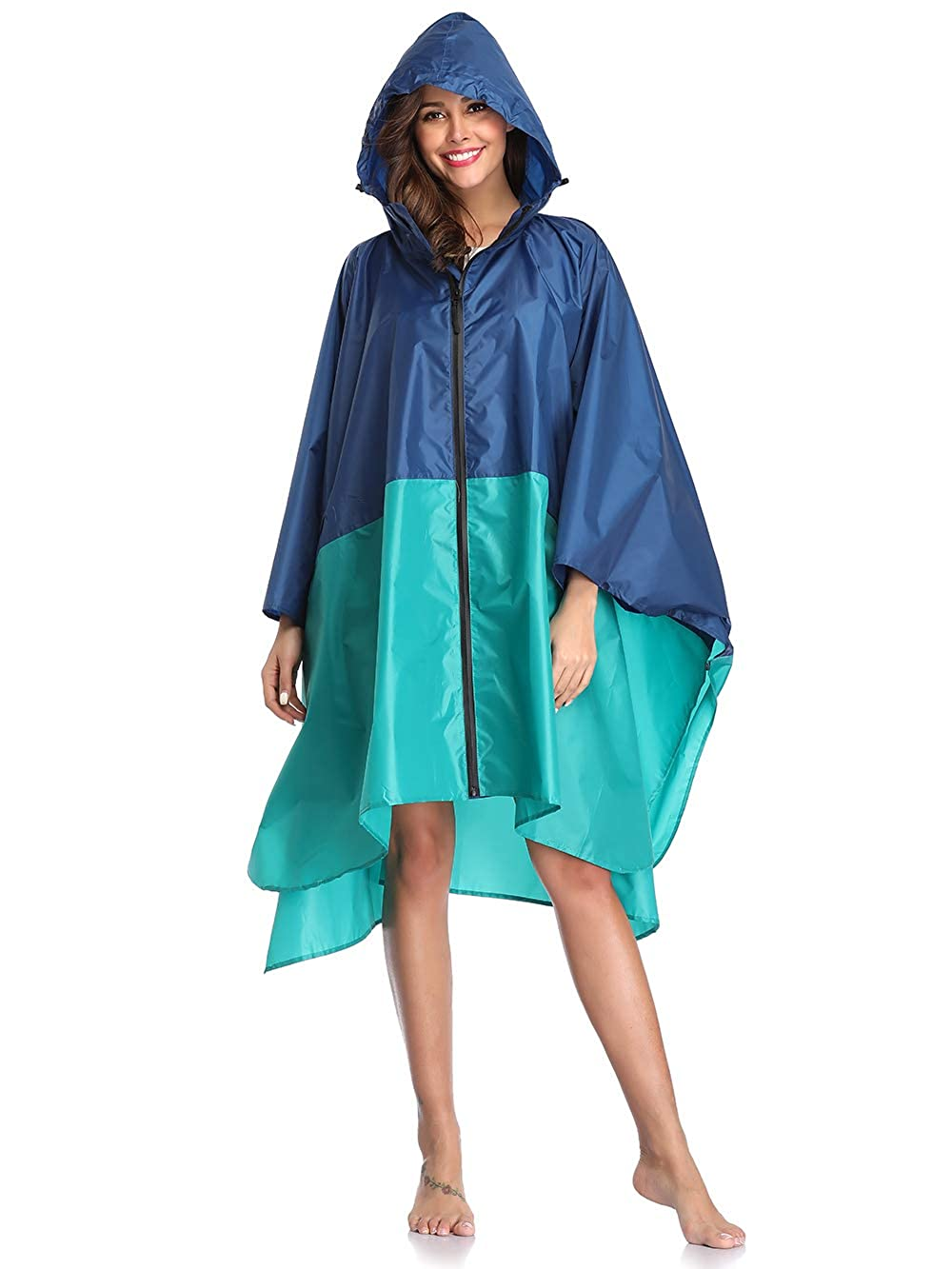 Summer Mae Wasserdicht Regen Poncho Jacke Mantel mit Kapuze Farbblock Blau Grün