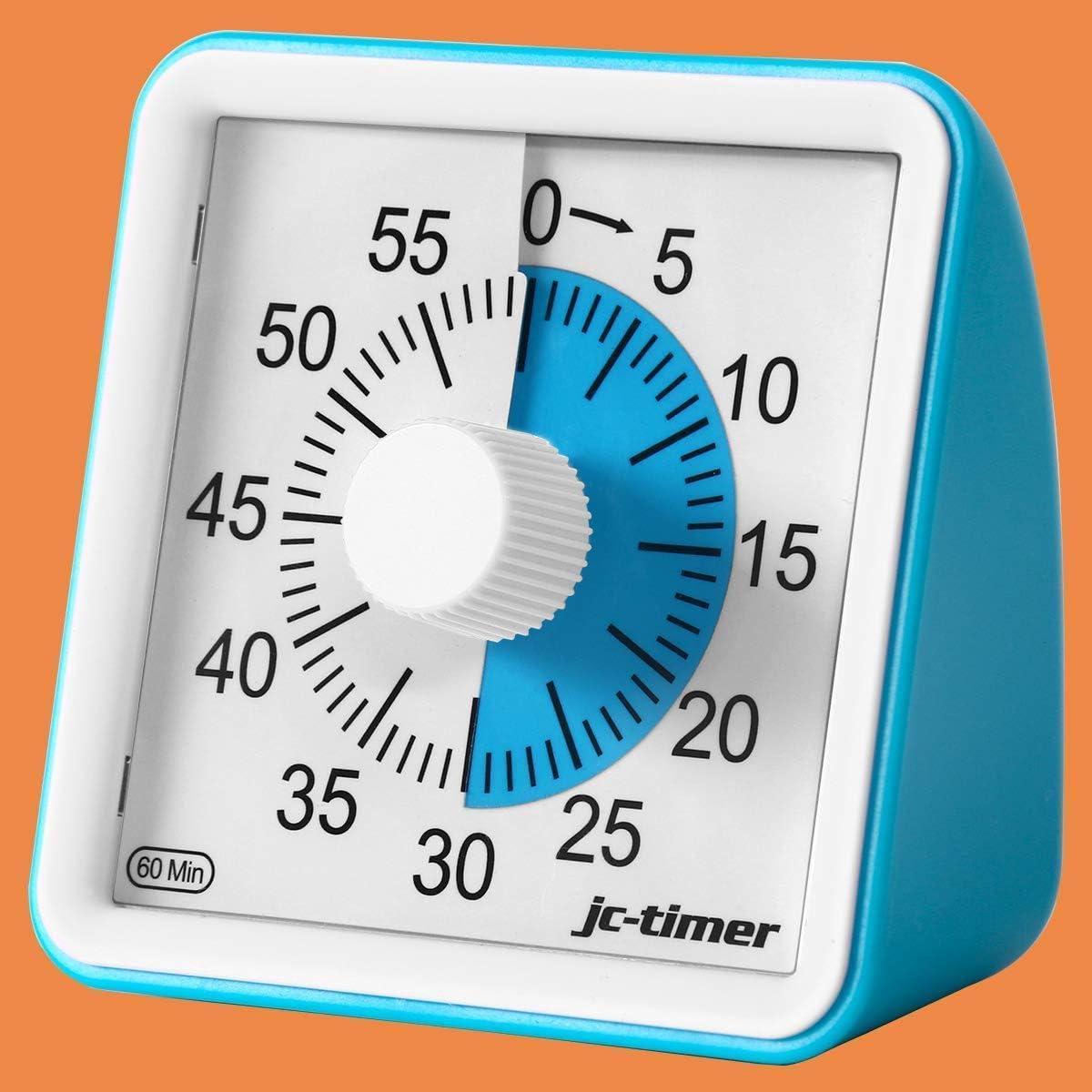 Wanxian Time Timer, 60 Minute Visual Analog Timer, Silent Ticking Countdown Clock para Cocina, Oficina, Aula, Herramienta de gestión del Tiempo para niños, Adultos