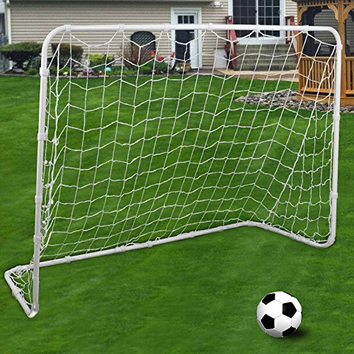 F2C Football Post Soccer Goal Target Net 6' x 4' Football Shooting Training Aid Ultimate Backyard Outdoor Kids Official Soccer Goal, Steel Post Frame (6' x 4' -