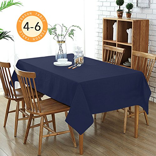 Wimaha Solid Blue Rectangular Tablecloth for Rectangle Table, Machine Washable Navy Table Linen Dry Fast Spill-proof, for Home Kitchen Party Picnic, 52x70In Polyester Table Cloth as Table Cover