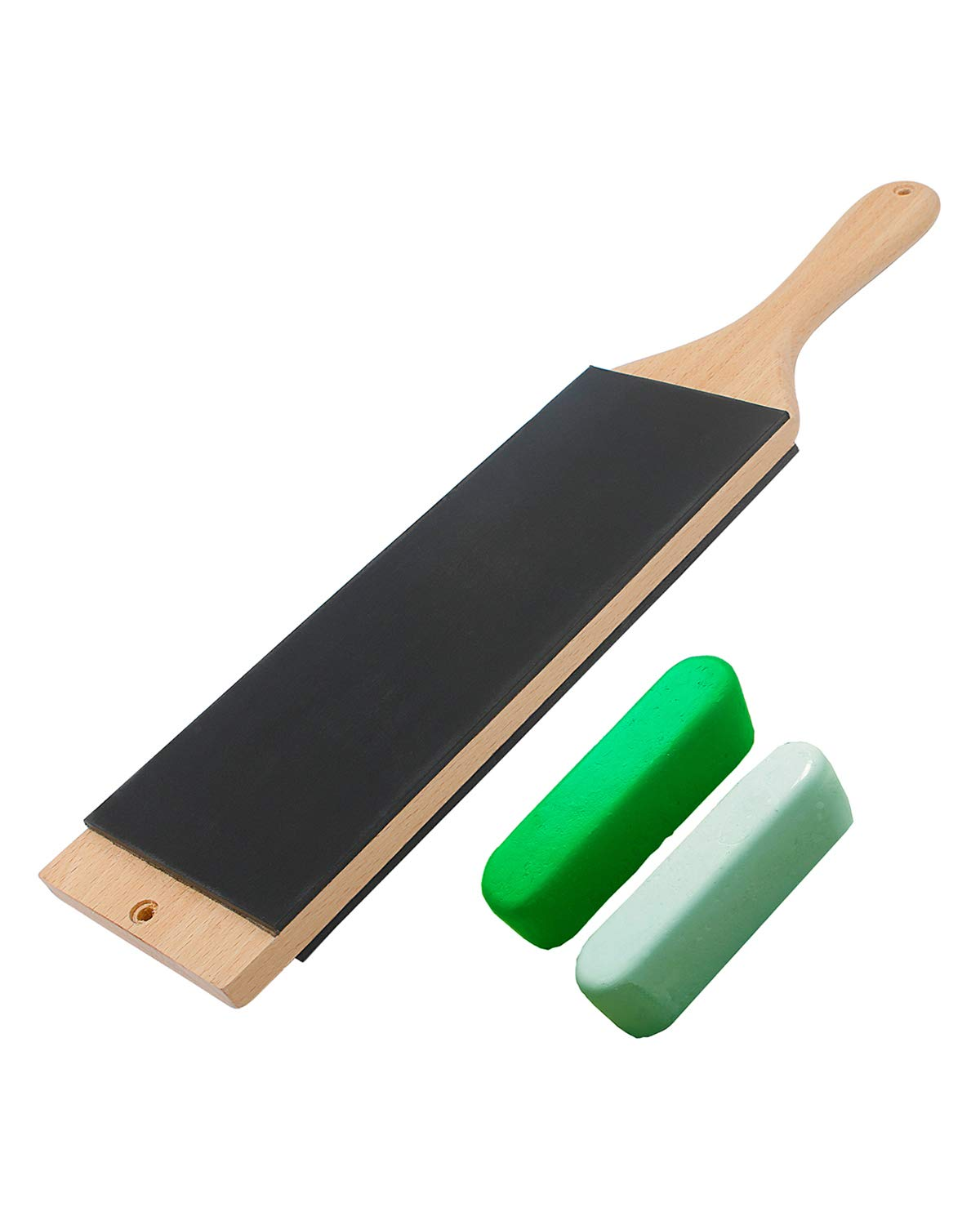 Leather Paddle Strop Large 2 Sided 3 Inch by 9 Inch with 2.8oz. Green White Compound (PADDLE STROP)