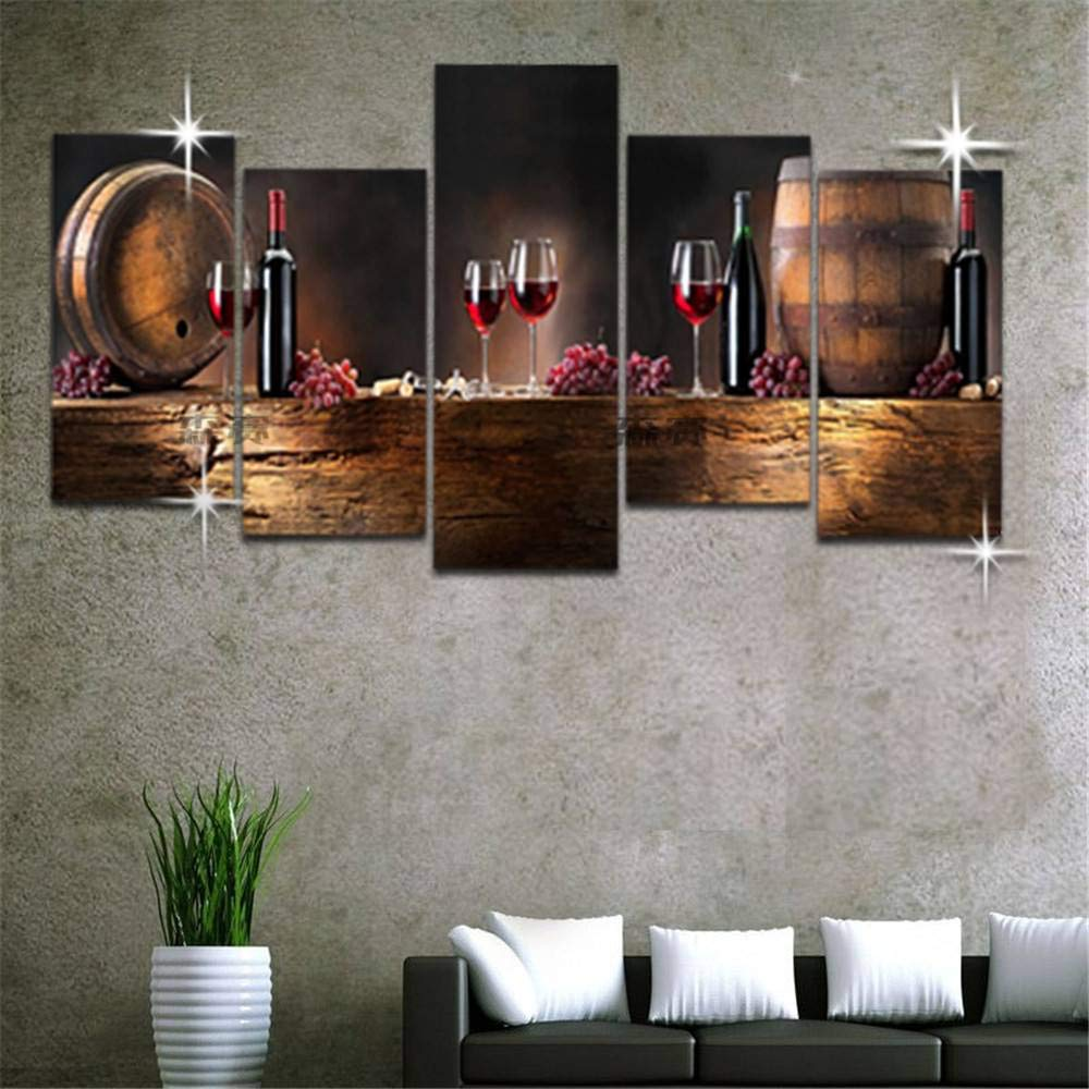 BFY 5pcs Modern Huge Wall Art Oil Painting On Canvas Red Wine Glasses Unframed Room Decor
