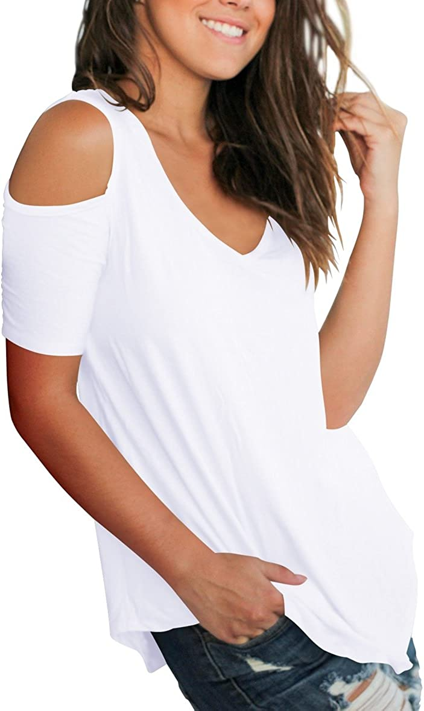 SLIMMING GRIL Womens Casual T Shirt V Neck Cold Shoulder Tops Short Sleeve Tshirt