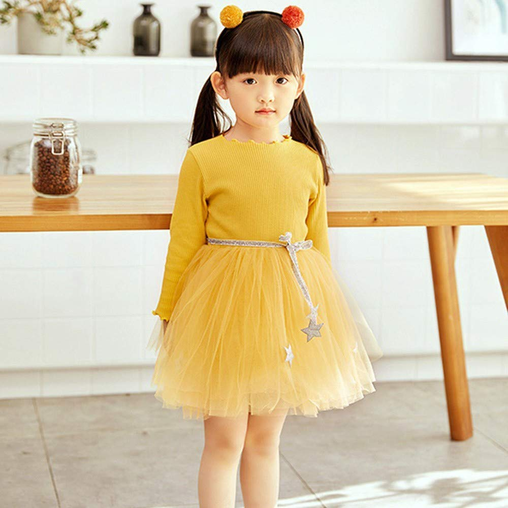 KONFA Toddler Baby Girl One-Piece Dress 0-4 Years,Little Princess Long Sleeve Skirt Fall Winter Clothes