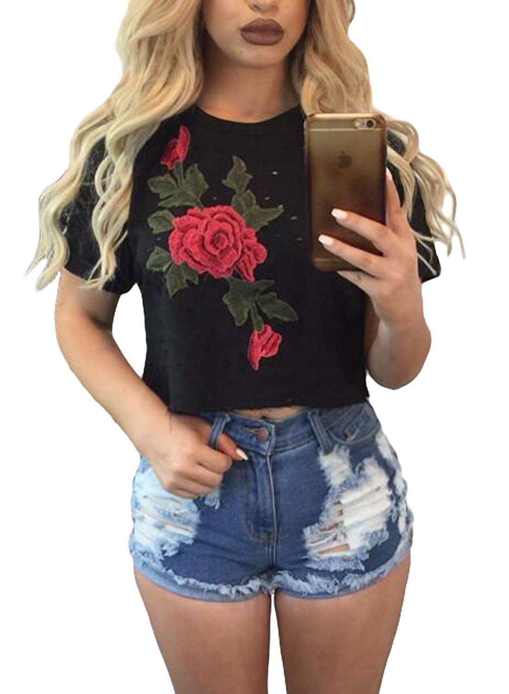 Minetom Damen Sommer T-Shirts Frauen Sommer Eine Rose Drucken Bedruckte  Loch Bluse Kurzarm O-Ausschnitt Tops Oberteil Crop Tops: Amazon.de:  Bekleidung