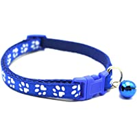 Adjustable Cat Collar Pet Collar with Removable bell for Cats Small Dogs Blue