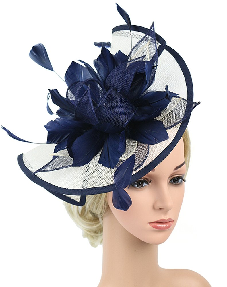 Z&X Navy Blue and White Fascinator Hat Sinamay Feather Floral Derby Hat for Women