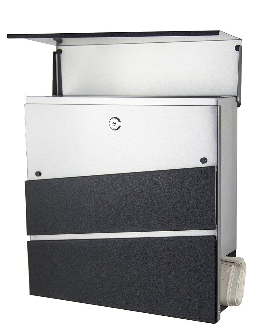 Designer Briefkasten Anthrazit Grau Ral7016 Mit Zeitungsfach