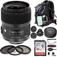 Sigma 35mm f/1.4 DG HSM Lens for Canon DSLR Cameras w/ Sigma USB Dock & 32GB SD Card Deluxe Travel Bundle