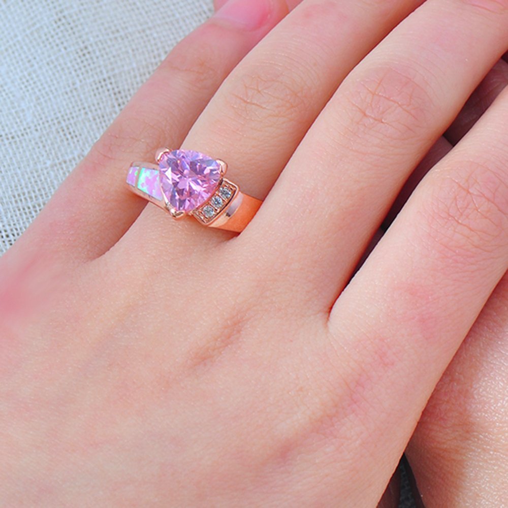 T-Ring New Romantic Female Pink Fire Opal Rose Gold Filled for Women Engagement Wedding Rings