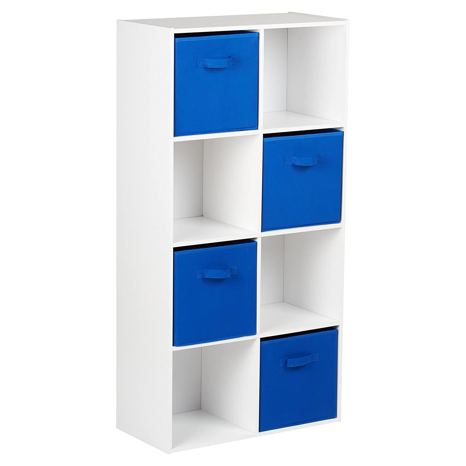 Hartleys White 8 Cube Unit & 4 Blue Storage Drawers