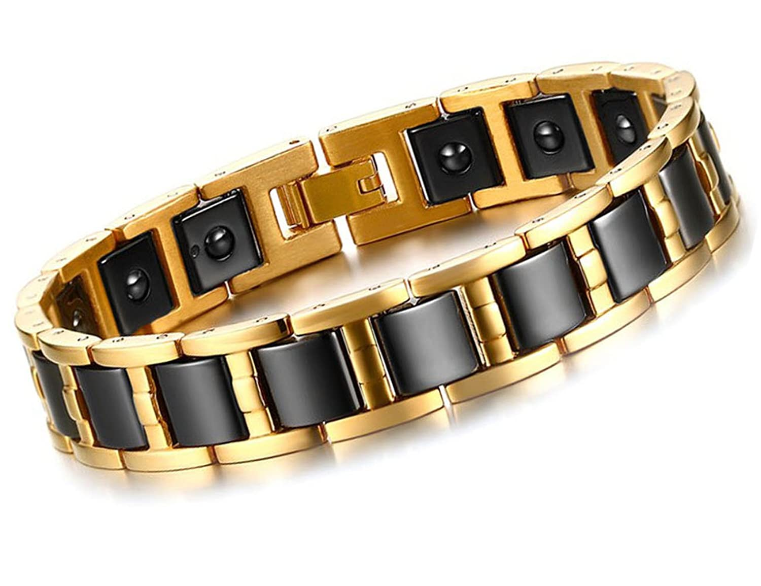 Charms Gold Titanium Relieve Fatigue Magnetic Therapy Pain Health Bracelet for Men A2