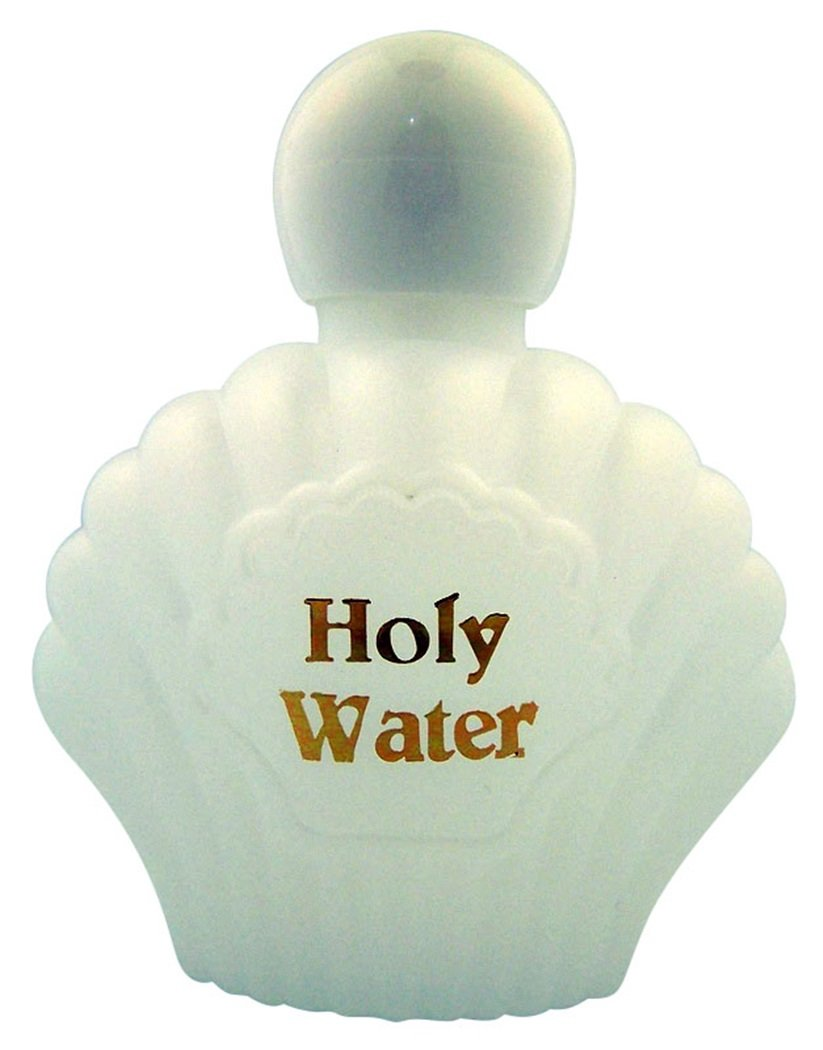 Religious Gifts Moulded Plastic Shell Shape Holy Water Bottle with Screw Top Lid, 3 oz