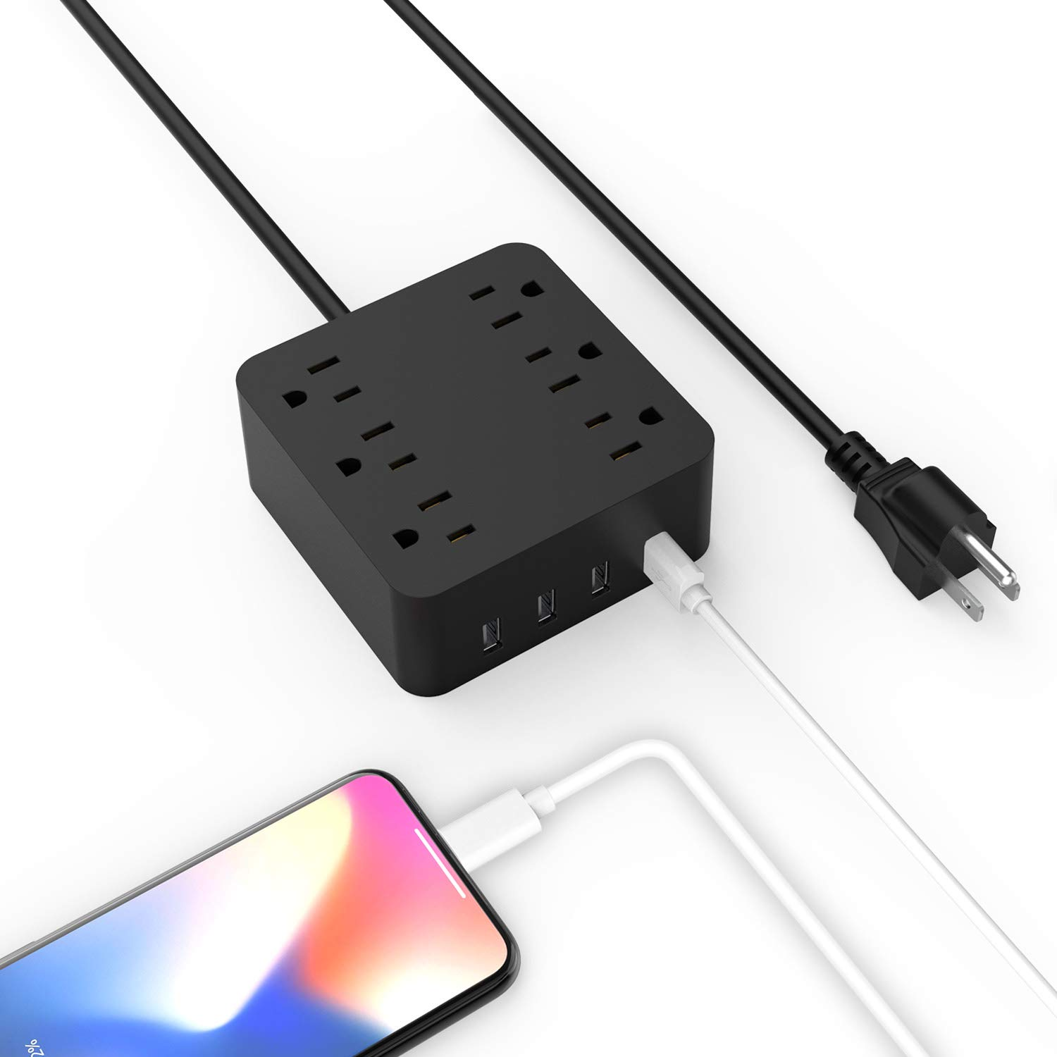 Power Strip - 6 Outlet Surge Protector with 4 USB Ports Fast Charging, 10A 5ft Long Extension Cord, Adjustable Voltage 100-250V for iPhone iPad Home Office Travel Cruise Ship Laptop Computer UL Listed