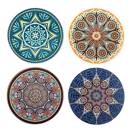 (WATSON Coasters For Drinks Absorbent -4 Pack Large 4.0