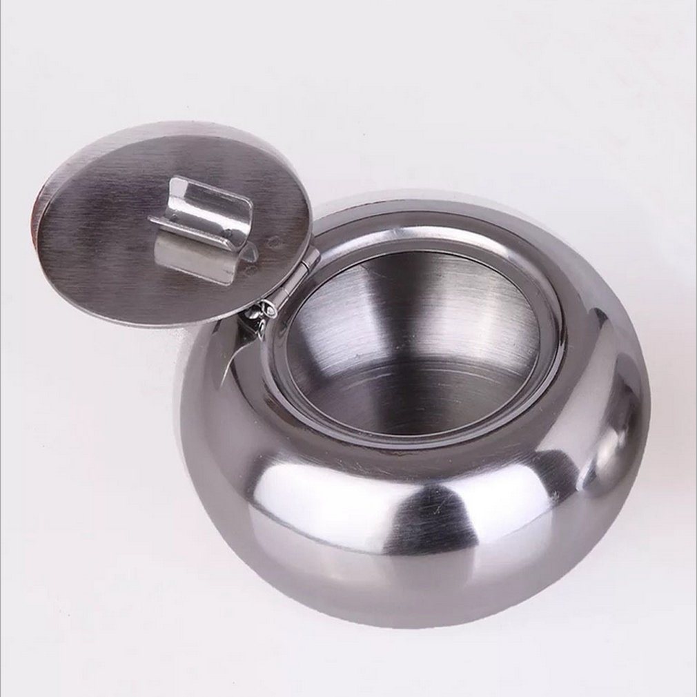 VWH Ashtray With Lid Stainless Steel Weatherproof Ash Tray For Home Office Decoration