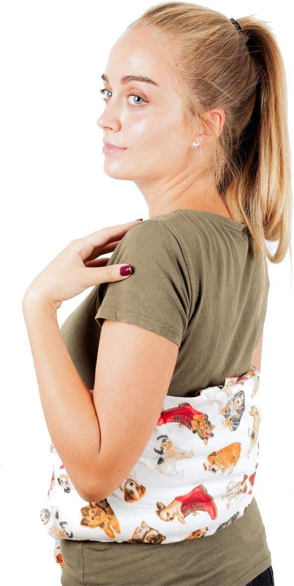 Faja Térmica Lumbar de Semillas - Almohada de Calor para Espalda Calentar en Microondas (60x20 cm) - Saco Térmico con Funda lavable, Tela de Algodón 100% y Olor a Lavanda (Perritos)