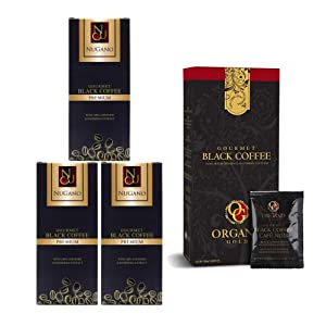3 Box Nugano Black Coffee Free Organo Gold Ganoderma Coffee Black Box - Organic Reishi Mushroom Instant Ground Aroma Taste Dark Roast Gourmet Beverages