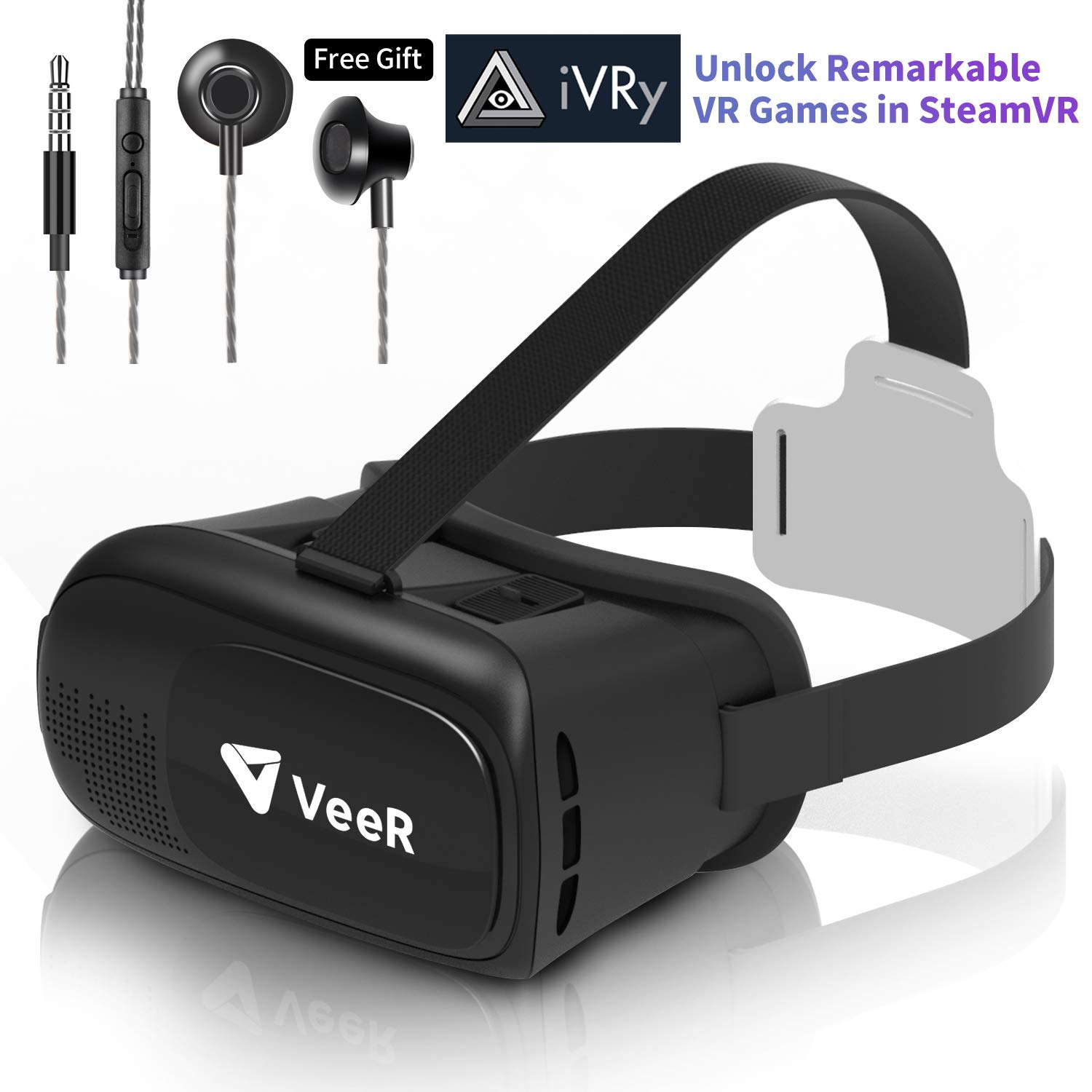 VeeR Origin VR Headset, Universal Virtual Reality Goggles Ver2.0 for 360 Movies&Video with Powerful Ivry Games,Compatible with Android Smartphone & iPhone, 3D VR Glasses with in-Ear Earbud Headphone by Veer