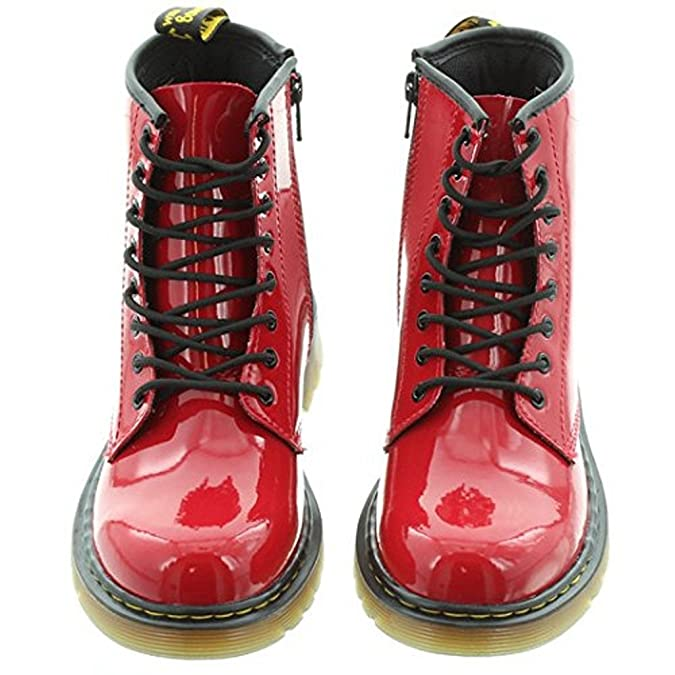 Dr Martens - Kids Delaney 1460 Y Lace Ankle Boots Red Patent: Amazon.co.uk:  Shoes & Bags