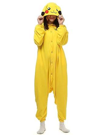 f9a4cdaa58c9 Amazon.com  Pokemon Pikachu Adult Onesie. Animal Pajama Costume for  Teenagers