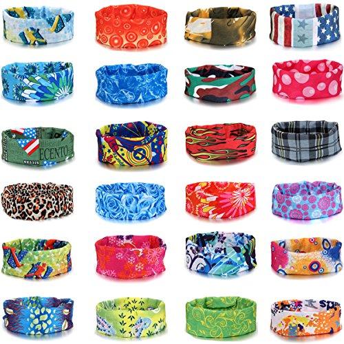 JewelryWe 24pcs Set Damen Herren nahtlos gemustert Bandana Kopftuch Halstuch Multifunktionstuch, 24 verschiedene Muster - Baumwolle & Polyester