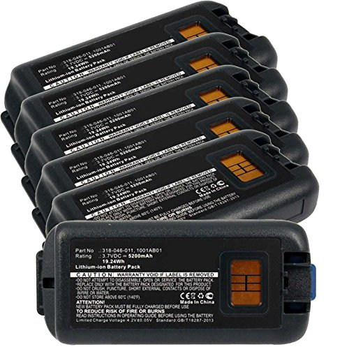 6x Exell EBS-CK70X Li-Ion 3.7V 5200mAh Batteries For Intermec CK70, CK71. Replaces Cameron Sino CS-ICK700BX, INTERMEC 1001AB01, 1001AB02, 318-046-001, 318-046-011 by Exell Battery