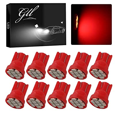 Grandview Red T10 LED Car Light Bulbs W5W 194 192 168 2825 Wedge 8-SMD 1206 LED Car Replacement Bulbs Side Marker Dome Map Interior Lamps Auto Car Truck LED Light 12V 10-Pack: Automotive