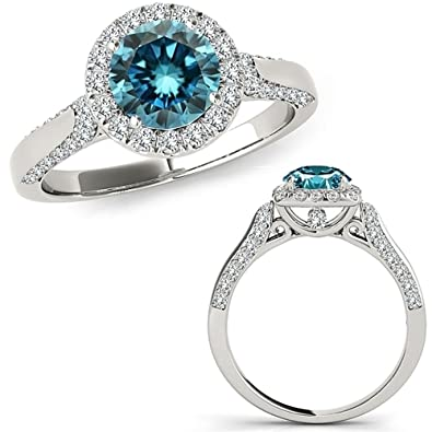 446c356b3 1.8 Carat Blue Diamond Beautiful Round Halo Anniversary Engagement Wedding  Band Ring 14K White Gold | Amazon.com