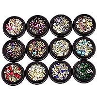 Gcroet 12PCS Mixed Nail Rhinestones Colorful Nail Diamonds Glitter Nail Crystals Metal Nail Studs Beads Gems DIY Nail Art Decor Accessories