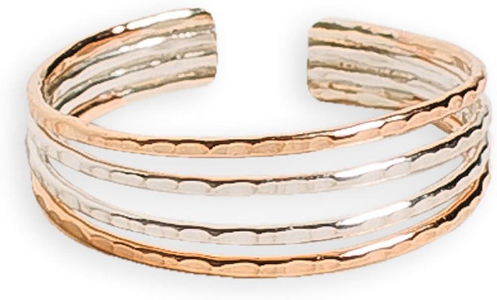 Toe Ring | Four Strand .925 Sterling Silver & 14K Gold Fill | Adjustable Ring for Foot Or Midi for Women, Girls, Or Men
