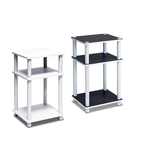 FURINNO Just 3-Tier End Table, 1-Pack, White White